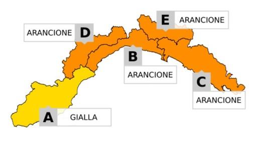 ALLERTA METEO: domani livello arancione su tutta la regione tranne che a Ponente