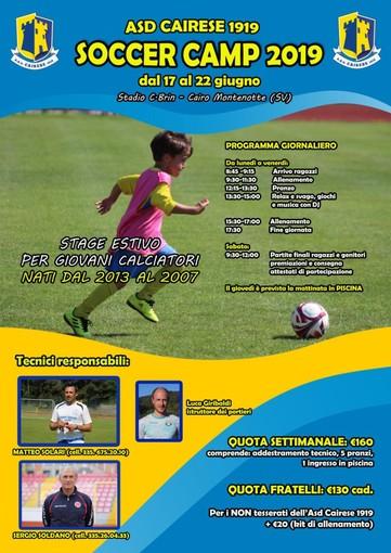 ASD Cairese Soccer Camp 2019: aperte le iscrizioni per lo stage estivo di Solari e Soldano