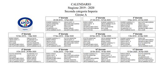 Calcio, Seconda Categoria A: ecco il calendario completo