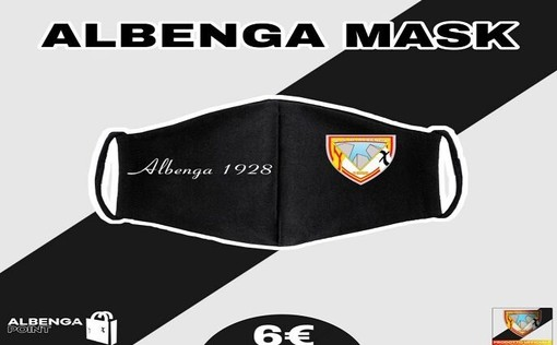 Calcio, Albenga. Arrivano le mascherine griffate con i colori e il logo del club