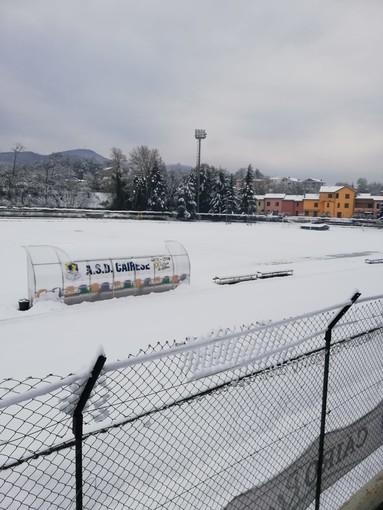 """Calcio. La neve imbianca la Valbormida, programma domenicale a rischio. Giribone: """"Vogliamo giocare con il Molassana ma non dipende da noi"""""""