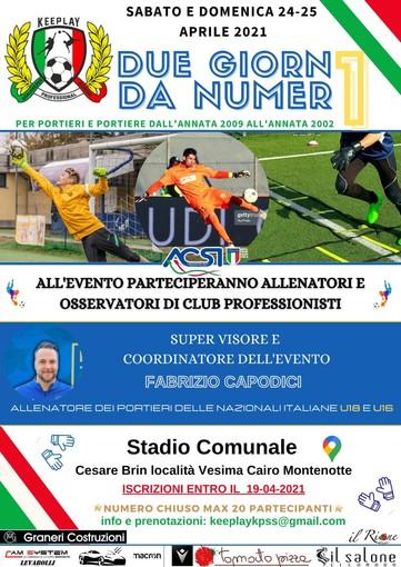 Calcio, Cairese: il 24 e il 25 aprile lo stage dedicato ai numeri uno con Fabrizio Capodici