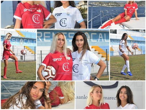 Calcio: Sanremese, indossate da due modelle presentate le nuove maglie targate Givova per la prossima stagione