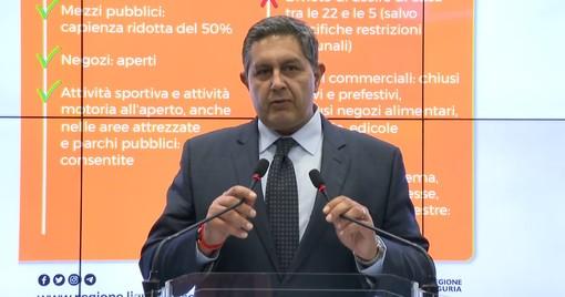 """Coronavirus, l'annuncio del presidente Toti: """"Liguria zona arancione da mercoledì 11 novembre"""""""