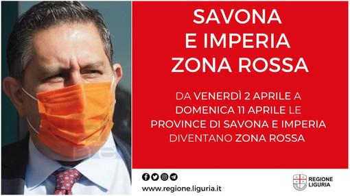 Le province di Savona e Imperia entrano in zona rossa da mezzanotte. Le restrizioni saranno estese fino all'11 di aprile